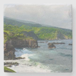 Tropical Cliffs in Maui Hawaii Stone Coaster