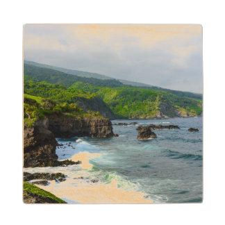 Tropical Cliffs in Maui Hawaii Wood Coaster