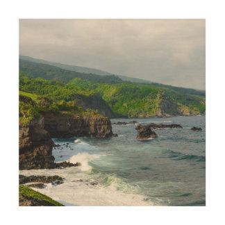 Tropical Cliffs in Maui Hawaii Wood Print