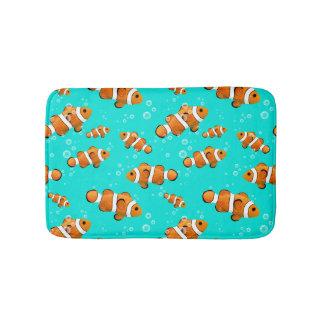 Tropical Clownfish & Bubbles Pattern Bath Mat