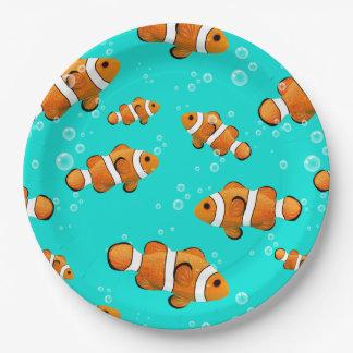 Tropical Clownfish & Bubbles Pattern Paper Plate