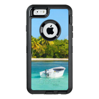 Tropical Coast Fishing Boat in Turquoise Water OtterBox Defender iPhone Case