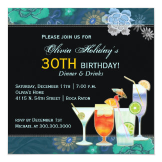 Tropical Cocktails 30th Birthday Party 13 Cm X 13 Cm Square Invitation Card