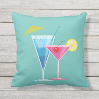 Tropical Cocktails on Turquoise - Outdoor Cushion