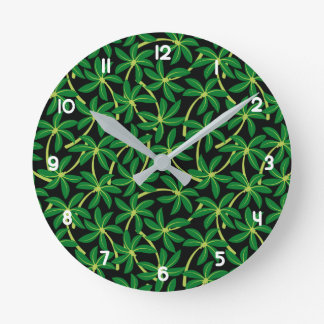 Tropical coconut palm tree round clock
