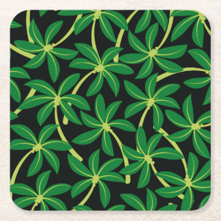 Tropical coconut palm tree square paper coaster