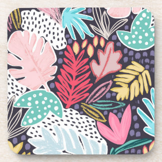 Tropical Collage Navy Pattern Coaster Set
