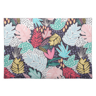 Tropical Collage Navy Pattern Placemat