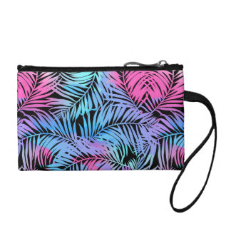 Tropical colored palms coin purse