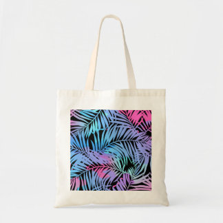 Tropical colored palms tote bag