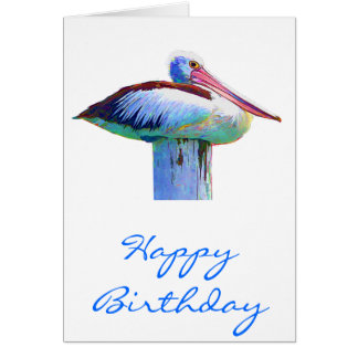 Tropical Colored Pelican Greeting Card