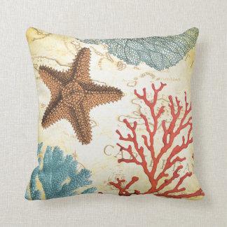 Tropical Colorful Caribbean Starfish and Coral Cushion
