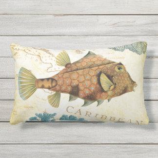Tropical Colorful Caribbean Yellow Fish and Coral Lumbar Cushion
