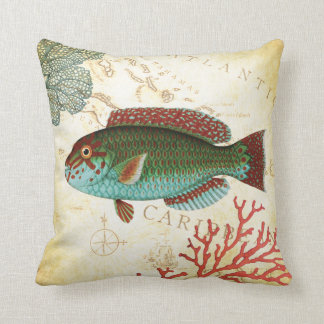 Tropical Colourful Caribbean Fish and Coral Throw Pillow