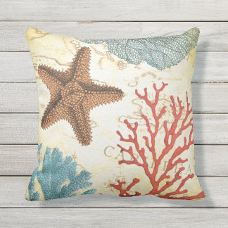 Tropical Colourful Caribbean Starfish and Coral Outdoor Cushion