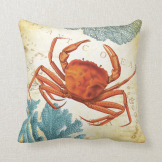 Tropical Colourful Red Crab and Coral Throw Pillow