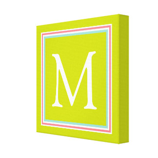 Tropical Coral and Aqua on Lime Green Monogram Canvas Print