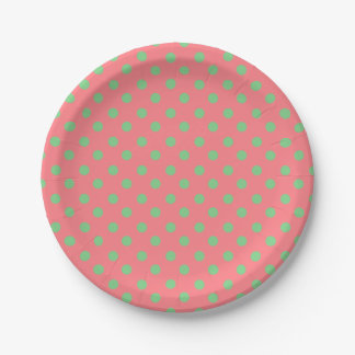 Tropical Coral Pink and Sea Green Polka Dot 7 Inch Paper Plate