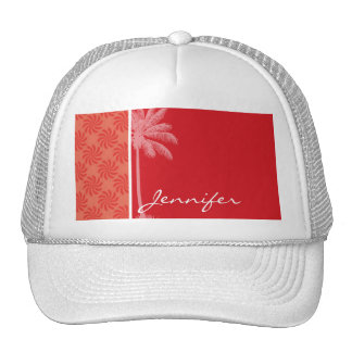 Tropical Coral & Red Swirl Trucker Hat