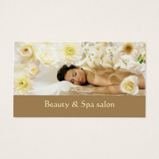 Tropical Creamy Flower Spa Resort Business Card