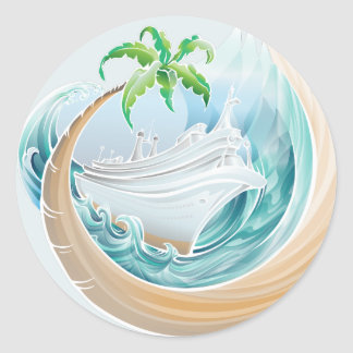 Tropical Cruise Classic Round Sticker