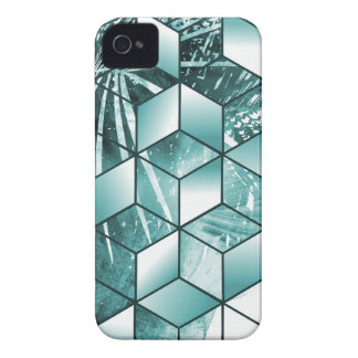 Tropical Cubic Effect Palm Leaves Design Case-Mate iPhone 4 Case