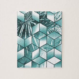 Tropical Cubic Effect Palm Leaves Design Jigsaw Puzzle