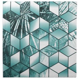 Tropical Cubic Effect Palm Leaves Design Napkin