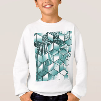 Tropical Cubic Effect Palm Leaves Design Sweatshirt