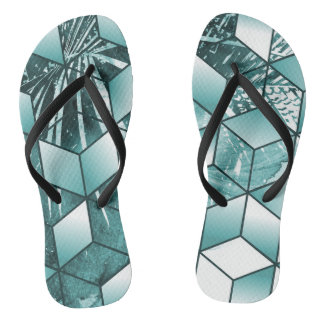 Tropical Cubic Effect Palm Leaves Design Thongs