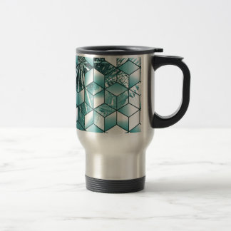 Tropical Cubic Effect Palm Leaves Design Travel Mug