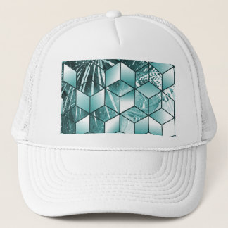 Tropical Cubic Effect Palm Leaves Design Trucker Hat