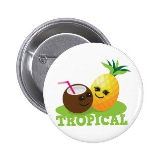 TROPICAL cute Kawaii Coconut and pineapple 6 Cm Round Badge