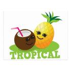 TROPICAL cute Kawaii Coconut and pineapple Postcard