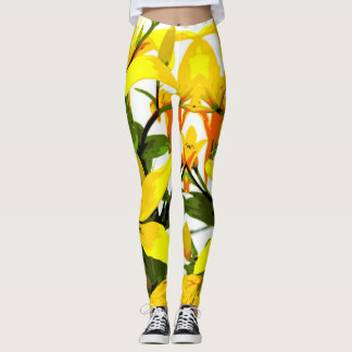 Tropical Day Lily Pattern Leggins Leggings