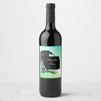 Tropical Design Green Tint Names and Date Wine Label