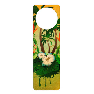 Tropical design with flowers and palm trees door knob hangers
