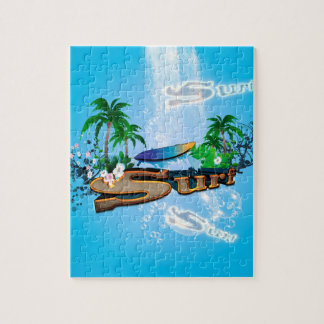 Tropical design with surfboard, palm and flowers jigsaw puzzle
