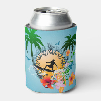 Tropical design with surfboarder can cooler