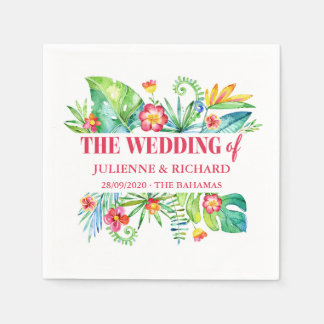 Tropical Destination Wedding Custom Paper Napkin