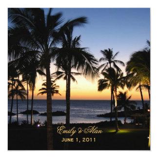 """Tropical Destination Wedding Invitations 5.25"""" Square Invitation Card"""
