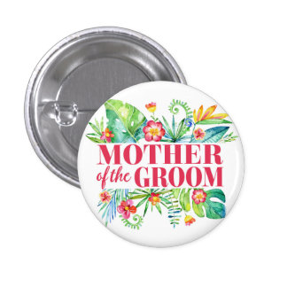 Tropical Destination Wedding Mother of the Groom 3 Cm Round Badge