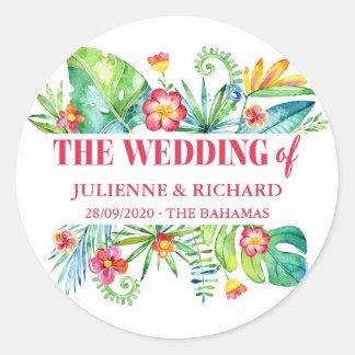 Tropical Destination Wedding Round Sticker