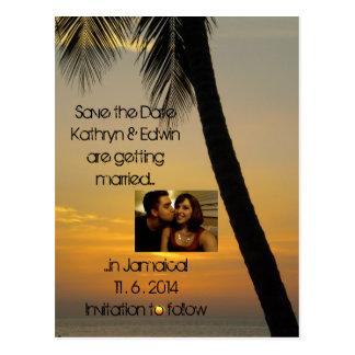 Tropical Destination Wedding Save the Date Postcard