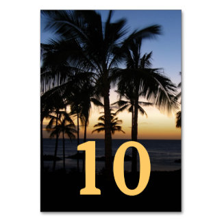 Tropical Destination Wedding Table Number Card