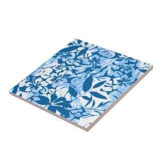 Tropical distressed blue floral tile
