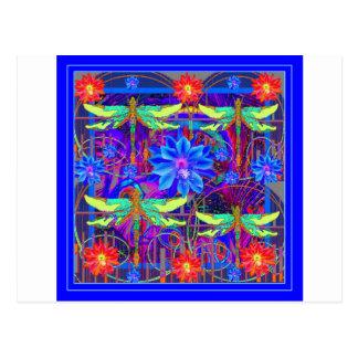 Tropical Dragonflies Blue Flower gifts Postcard