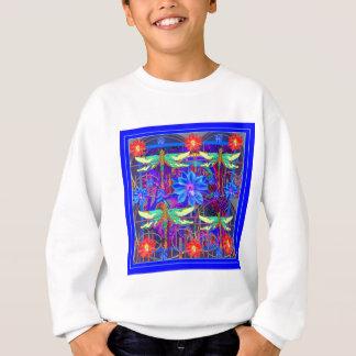 Tropical Dragonflies Blue Flower gifts Sweatshirt