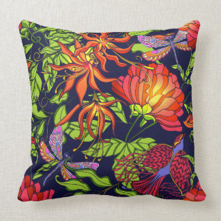 Tropical dragonfly pillow