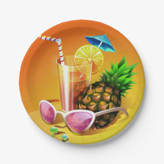Tropical Drink paper plates 7 Inch Paper Plate